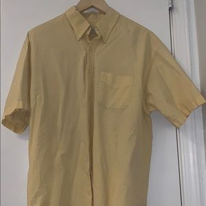 Van Heusen yellow n striped short sleeve button up